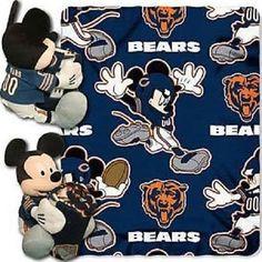 "NEW Disney Plush Mickey NFL Chicago Bears 14"" Pillow and 40"" x 50"" Throw Set #ChicagoBears"