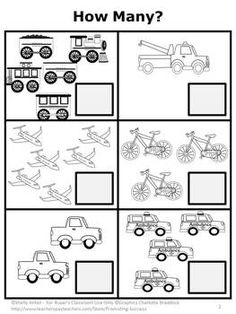 FREE Counting: Here is a sample math counting worksheet from my Transportation Math Activity Packet These transportation printable worksheets go along nicely with many children's literature books, including Dr. Seuss - Go, Dog. Go! They are perfect for a kindergarten or preschool classroom!