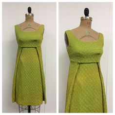 1960s Mod Chartreuse Party Dress 60s by CreatedAndCollected, $42.00