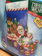 Design Works Flying Santa Christmas Stocking Felt Embroidery for sale online Christmas Stocking Kits, Felt Christmas Stockings, Santa Christmas, Felt Crafts, Diy Crafts, Airplane Pilot, Felt Embroidery, Snow Globes, Ebay