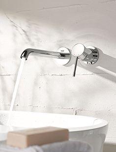 GROHE Essence 2-Loch-Waschtischarmatur für die Wandmontage, Fertigmontageset ohne Unterputz-Einbaukörper, AquaGuide 19967001: Amazon.de: Baumarkt