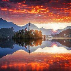 Sunset in Bled, Slovenia.