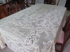 Fabulous Antique French Alencon Lace Banquet Tablecloth Set NOS Unused