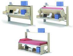 Modern Murphy Bed and desk  Cama plegable y escritorio