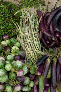 Fresh vegetables beans, eggplants + herbs  morning market in Luang Prabang, Laos.