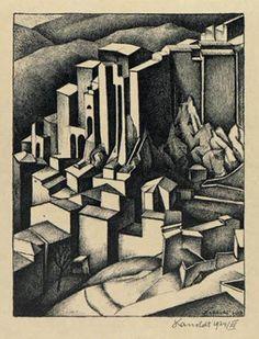 Kanoldt, Alexander - Olevano - Neue Sachlichkeit - Architecture - Lithography