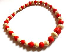 Early Plastic Beaded Necklace Vintage Red White Carved Cone Barrel Ribbed Ridges Galalith Casein French Bakelite  by ReneeMaeVintage