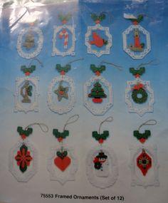 Plastic Canvas Unique Framed Christmas Ornaments Kit, Set of 12