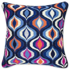 Jonathan Adler Pink And Blue Bargello Waves Pillow in In Stock Pillows & Throws