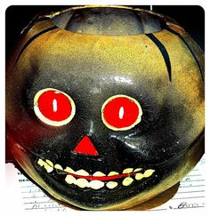 Vintage Halloween Paper Mache ~ Jack O' Lantern Skeleton Lantern · Made in Germany