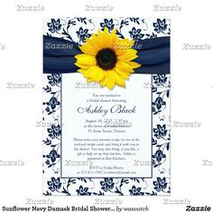 Sunflower Navy Damask Bridal Shower Invitation The text on this classic navy or marine blue and white floral damask sunflower bridal shower invitation is fully customizable. To change it use the personalize option. For more extensive text changes, such as changes to the font, font color, or text layout, use the customize option. Although this sunflower flower invitation is currently customized for a wedding shower, it could also be used for other special occasions. Really it's up to you. All…