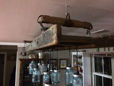 7' 13 light Mason jar/ladder dining room light. $ 800.00 Sold - Taking orders