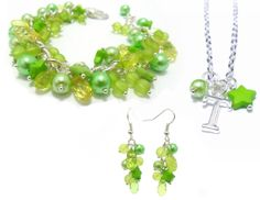 GIFT SET Personalised Initial Necklace with Matching Earrings and Charm Bracelet, Green Bracelet, Green Necklace Earrings