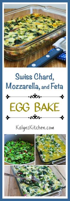 Swiss Chard, Mozzarella, and Feta Egg Bake is a delicious low-carb and gluten-free breakfast to make on the weekend and eat all week! This tasty recipe is also Keto, low-glycemic, and South Beach Diet (Baking Eggs Keto) Real Food Recipes, Diet Recipes, Healthy Recipes, Yummy Food, Mozzarella, Feta, Egg And Grapefruit Diet, Swiss Chard Recipes, Egg Diet Plan