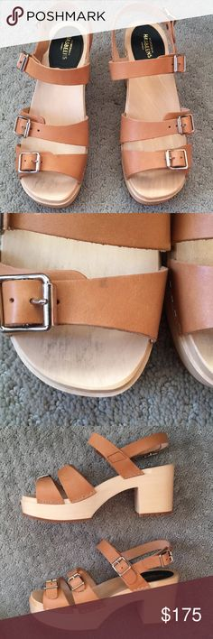 ✨BRAND NEW✨Swedish Hasbeens buckle sandals!✨👡 Euro 40 US 10~ RUNS SMALL~ fits more like a 9 or 9.5!  Nothing wrong with these, in almost perfect condition, however see second photo for a tiny dot of discoloration on one strap. They came like that.   Brand new, never been worn! Durable, high quality, and surprisingly very comfortable! You won't feel like you have high heels on due to the plateau :)   I am a true size 10 and they do not fit, hate to let them go, I love them so much!!   See…