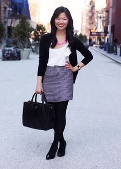 Skirt The Rules Blog; NYC fashion blogger; style blog; outfit photos; Zara black v-neck cardigan; Forever 21 bow blouse; J.Crew purple silver tweed mini-skirt; H black tights; Tory Burch Robinson tote; Bauble Bar fuschia tab strand necklace; Juicy Couture pave pyramid stretch bracelet