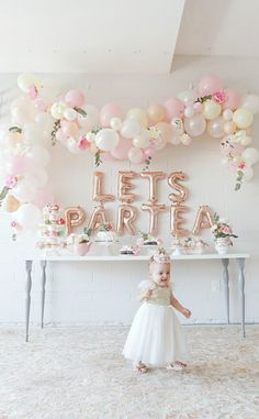 First birthday tea party celebration for our little girl, Scottie Rose! Lots of neutral, pinks, rose gold and floral party decor. Balloon garland arch and lots of party decor inspiration. Tea Party Birthday, 1st Birthday Girls, Baby Party, First Birthday Parties, Diy Birthday, Tea Party Theme, Girls Tea Party, Tea Party Baby Shower, Graduation Parties