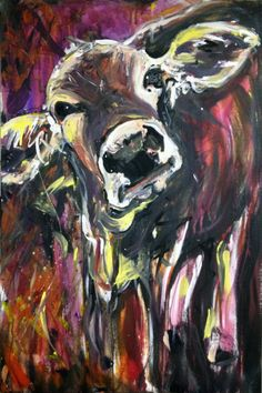 """Moo Doo"" acrylic on canvas, x 2012 Pink Animals, Farm Animals, Siberian Husky Rescue, Abstract Animal Art, Cow Painting, Animal Crafts, Painting Inspiration, Fur Babies, Folk"
