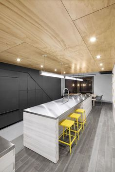 In Suspension, Montreal, 2014 - _naturehumaine [architecture+design] Plywood Ceiling, Plywood Walls, Wood Ceilings, Architecture Design, Montreal Architecture, Plywood Design, Plywood Interior, Cuisines Design, Modern Kitchens