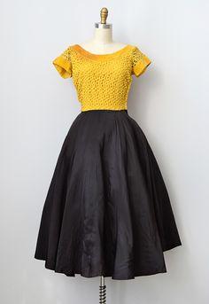Vintage 1950s yellow lace taffeta party dress