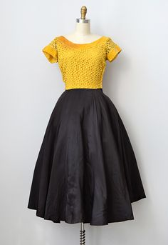 vintage 1950s yellow lace taffeta party dress