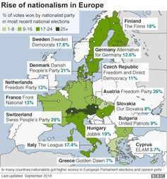 Map showing rise of populist and nationalist parties in Europe Direct Democracy, Freedom Party, Europe Eu, Heart Of Europe, Right Wing, Location History, Finland, Denmark, Empire