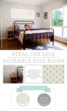 Cutting Edge Stencils shares a DIY stenciled boys room idea using the Fir Tree Allover pattern. http://www.cuttingedgestencils.com/fir-trees-allover-stencil-pattern-wall.html