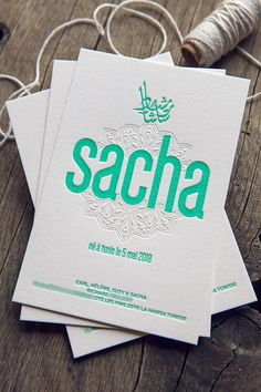 Carton de naissance avec calligraphie arabe et motif oriental pour Sacha / Oriental pattern and arabic inspiration for this modern birth announcement card letterpres printed in aqua green and blind deboss / design and print by Cocorico Letterpress Business Card Design, Business Cards, Web Design, Graphic Design, Oriental Pattern, Announcement Cards, Letterpress Printing, Name Cards, Say Hello