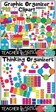 Graphic Organizer Clipart * 142 piece BUNDLE!  Thinking map organizers are perfect for Teachers Pay Teachers sellers and students.  TeacherKarma.com
