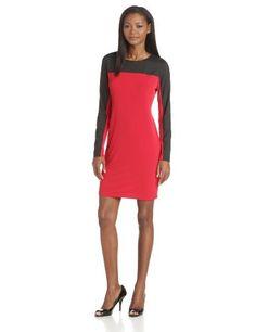 Calvin Klein Women's Sheer-Sleeve Dress #workdresses