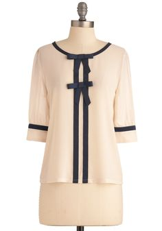 Brandi's Something in the Era Top - Mid-length, Vintage Inspired, Cream, Blue, Solid, Bows, Trim, 3/4 Sleeve, Work