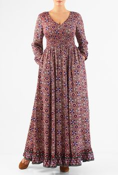 I this Floral print smocked waist maxi dress from eShakti Indian Gowns Dresses, African Fashion Dresses, African Dress, Prom Gowns, Frock Fashion, Abaya Fashion, Muslim Fashion, Floral Print Maxi Dress, Dress Outfits