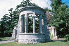 Round concrete sculpted gazebo