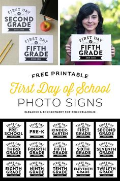 Free printable signs, sized 8 x 10 for the first day of school from pre-school to 12th grade. Design by Elegance and Enchantment for Remodelaholic.