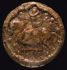 The front of the Great Seal of Elizabeth I. The Great Seal was used by the Chancery, the Tudor Civil service, to show that the document attached was ordered in the Queens name. The pattern for this seal was produced by the artist Nicholas Hilliard in Tudor History, British History, Ancient History, European History, Elisabeth I, Tudor Dynasty, Tudor Era, Tudor Style, Wars Of The Roses