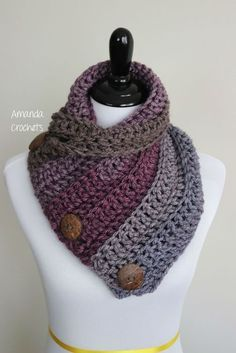 Today I'm going to share my 3 button cowl pattern. This is a simple yet beau… Today I'm going to share my 3 button cowl pattern. This is a simple yet beautiful cowl pattern using Caron Tea Cake yarn. This is a perfect winter accessory Pin: 236 x 353 Col Crochet, Crochet Buttons, Crochet Shawl, Crochet Stitches, Free Crochet, Crochet Patterns, Knitting Patterns, Loom Knitting, Knitting Machine