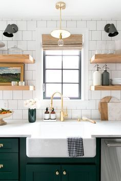 Bold Green Cabinets and Open Shelving in the Kitchen! Denver Tudor Project - Studio McGee