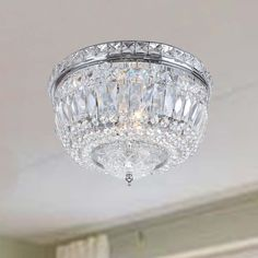 Elisa Chrome (Grey) Crystal Basket Flush Mount Chandelier (Chrome, Crystal, Flush Mount Chandelier)