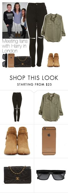 """""""Meeting fans with Harry in London"""" by marianaasilva-237 ❤ liked on Polyvore featuring The Ragged Priest, H&M, Yves Saint Laurent, Chanel, CÉLINE, OneDirection and harrystyles"""