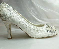 Something OLD Something NEW  ..Wedding Shoes....vintage lace, crystals and pearls.. As Seen in Brides Magazine.. UK.