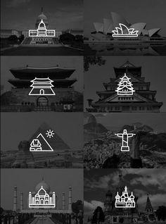 Icones de pontos turisticos | Inspiração & Photoshop