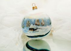 CHRISTMAS ORNAMENT Winter landscape Country cottage by Bettineum
