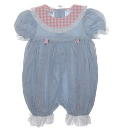 Polly Flinders Blue Chambray Romper with Pink Checked Collar and Pleat Inserts $45.00 #PollyFlindersRomper