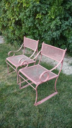 Wrought Iron Scroll Arm Chairs. $180.00, via Etsy.