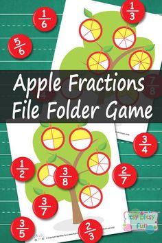 Breuken: Apple Fractions Math File Folder Game - Learning Games For Kids Math Fraction Games, Learning Games For Kids, Math For Kids, Fun Math, File Folder Activities, File Folder Games, Math Activities, Math Folders, File Folders