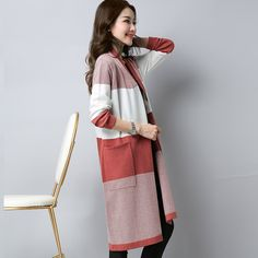 a01a9098b2 MiVi 2017 Spring Autumn Stripes Long Knitted Cardigans With Pocket Women s  Shawl Knitting Loose Sweater Outwear