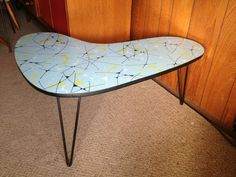 Atomic Laminex Boomerang Side Table With Kurrlson Iron Rod Hairpin Legs