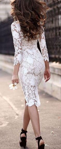 dantelli beyaz kalem elbise modeli 2015