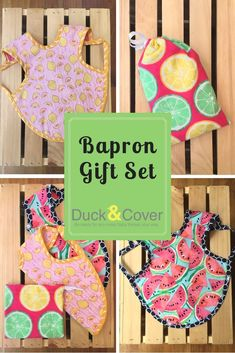 The perfect gift for a summer baby. This gift set comes with two baprons - one lemon print and one watermelon print. Tuck it all in the reusable flannel citrus print bag. Available in both infant and toddler sizes. These baprons are the best bib. Stocking Stuffers For Baby, Baby Stocking, First Birthday Gifts, First Birthdays, Baby Shower Fruit, Watermelon Baby, Fruit Gifts, Best Baby Shower Gifts, Lemon Print