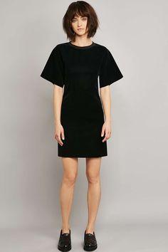 MM6 Flocked Black Velvet Sweatshirt Dress
